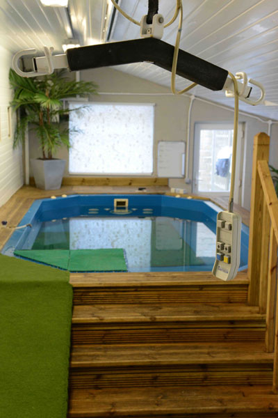The hoist system in the Canine Hydrotherapy Centre